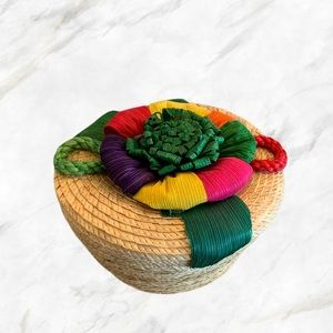 4/$30 🌺 Hand Crafted Colourful Storage Basket